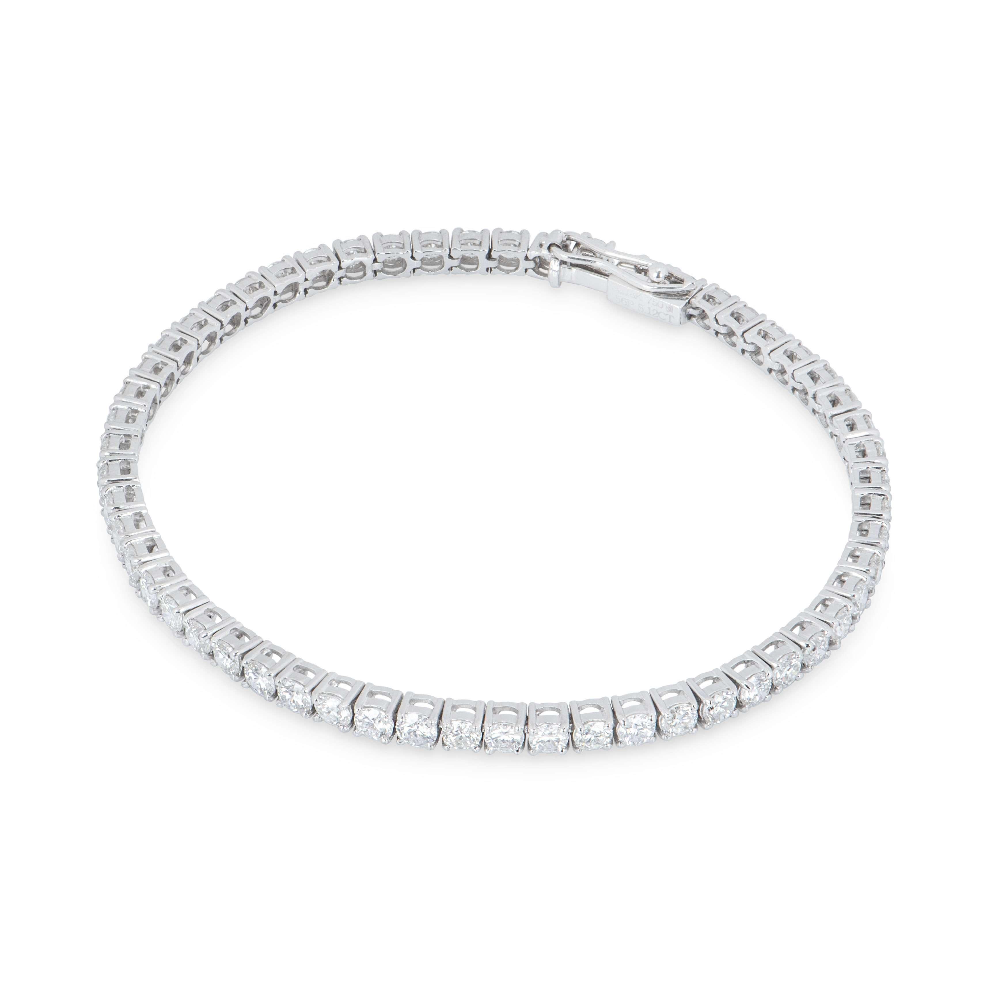White Gold Diamond Line Bracelet 5.12ct